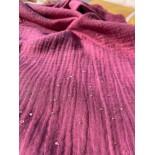 Double gaze coton - PAILLETTES - violet - x10cm