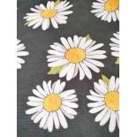Tissu ameublement - Marguerite noir x10cm